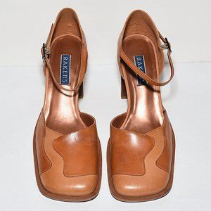 Prob Unworn Bakers Leather Squared-Toe Block Heels